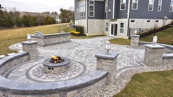 Freehold, NJ: Contemporary Patio, Fire Pit, Bar & Kitchen