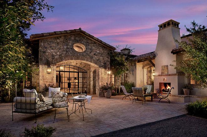 Mediterranean Patio by Higgins Architects