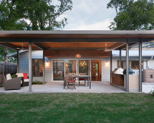 Inspiration For A Contemporary Patio Kitchen Remodel In Austin With A Roof  Extension