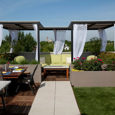 Trendy patio photo in Chicago with decking and a gazebo