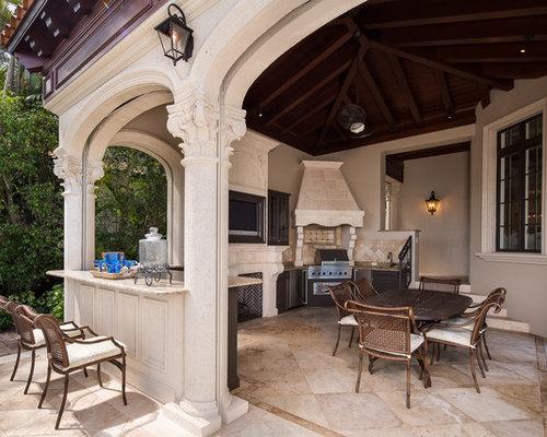 Patio Kitchen   Large Mediterranean Backyard Stone Patio Kitchen Idea In  Miami