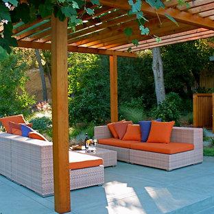 Modelo de patio actual con losas de hormigón y pérgola