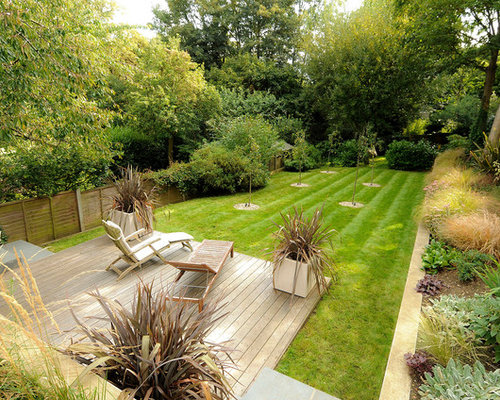 Mid Sized Trendy Backyard Patio Photo In London