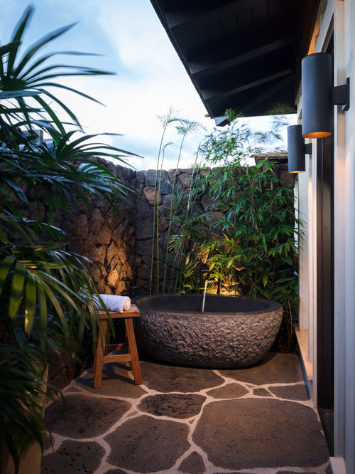 Mid Sized Island Style Stone Outdoor Patio Shower Photo In Hawaii With A  Roof Extension