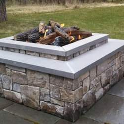 Gas Firepit Missoula - Custom Square Picture Frame Gas Fire Pit with Natural Stone Veneer.