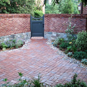 Gated Courtyard w Brick and Stone Walls and Patio