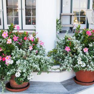 Foto de patio clásico renovado, grande, en patio trasero, con entablado y pérgola