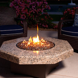 """Giallo Fiorito Octagon Fire Table - The Giallo Fiorito Octagon Fire Table by Oriflamme from AllBackyardFun.com. Complete your patio with this fire table. Don't waste your time, money and energy struggling with your own custom fire pit. Instead, customize your Oriflamme with several unique """"designed fire"""" burners available with hundreds of fire glass color combinations!"""