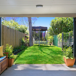 This is an example of a transitional backyard patio in Sydney with concrete pavers and a roof extension.