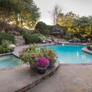 Esempio di un piccolo patio o portico minimal dietro casa con un giardino in vaso e pavimentazioni in pietra naturale
