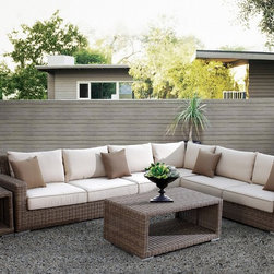 Grayson Bay Outdoor Sectional - Relax during those breezy, summer time evenings on this gorgeous outdoor sectional. Constructed with a powder coated aluminum frame, the piece offers plush cushioning in the seating area and comes with durable driftwood weave upholstery.