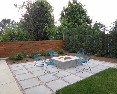 Attractive Contemporary Concrete Paver Patio Idea In Seattle With A Fire Pit