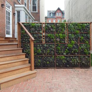 Trendy brick patio vertical garden photo in Philadelphia with no cover