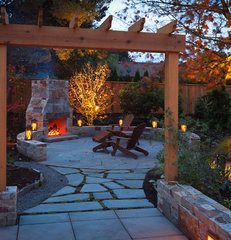 traditional patio by beautiful bones and purple stones