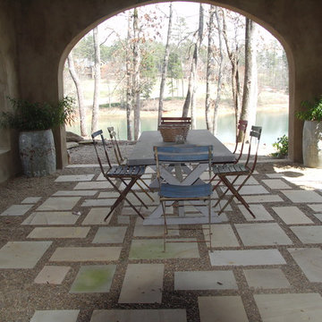 Cut Stone Pavers with Pea Gravel Joints