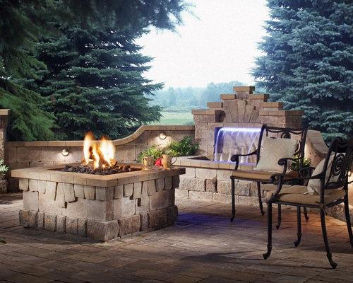 waterfall fireplace houzz