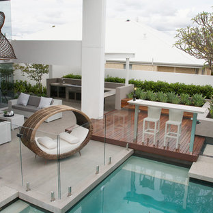 Inspiration for a contemporary patio in Perth with no cover.