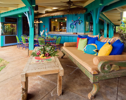 Example Of A Large Island Style Backyard Tile Patio Kitchen Design In  Hawaii With A Roof