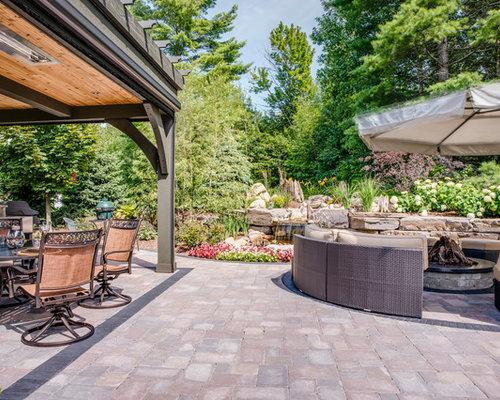 Elegant Backyard Brick Patio Photo In Other With A Gazebo Cabana