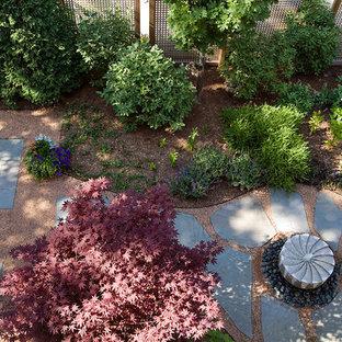 Foto di un patio o portico classico di medie dimensioni e dietro casa con fontane, graniglia di granito e nessuna copertura