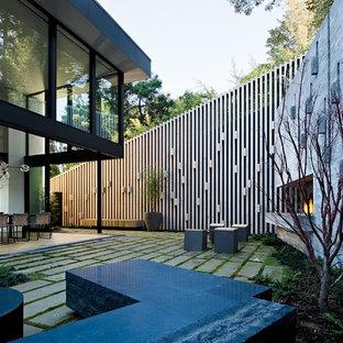 Diseño de patio minimalista, sin cubierta, en patio trasero, con adoquines de hormigón y chimenea