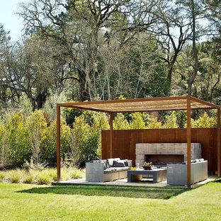 Ejemplo de patio contemporáneo, de tamaño medio, en patio trasero, con pérgola y chimenea