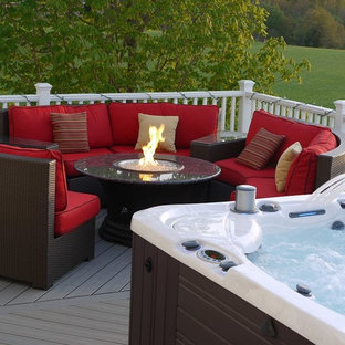 Inspiration For A Mid Sized Timeless Backyard Patio Remodel In Dc Metro With Fire