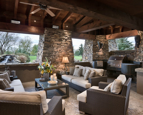 Inspiration For A Rustic Patio Remodel In Other With A Roof Extension
