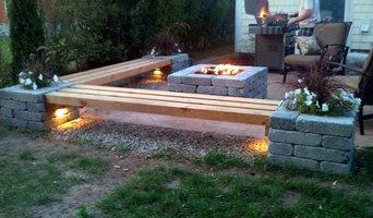Hull Patio, Pergola, Propane fire pit, custom benches, pillar planters, lighting