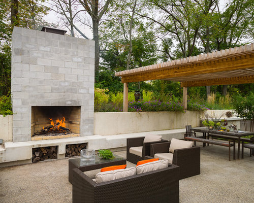 Concrete Block Fireplace | Houzz on Building Outdoor Fireplace With Cinder Block id=46923