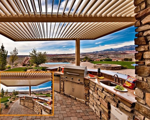 Nice Inspiration For A Backyard Stone Patio Kitchen Remodel In Austin With A Roof  Extension