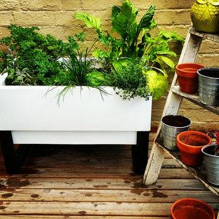 Diseño de patio romántico, de tamaño medio, en patio y anexo de casas, con jardín de macetas y entablado