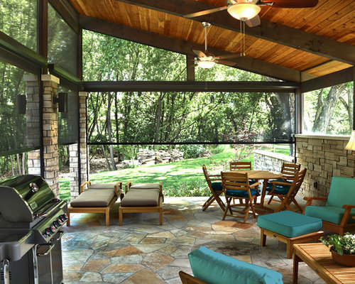 Example Of A Mid Sized Mountain Style Backyard Stone Patio Design In  Indianapolis With A