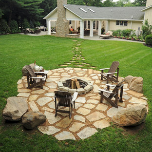 Inspiration For A Large Timeless Backyard Stone Patio Remodel In Columbus With Fire Pit