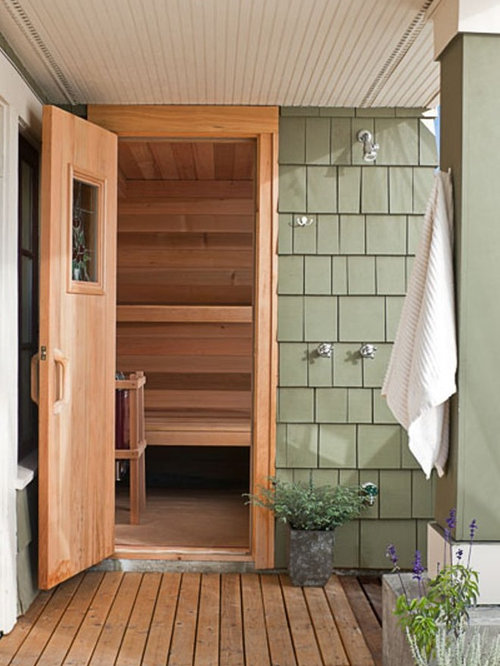 Outdoor sauna houzz for Keys backyard sauna