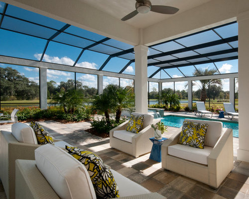Screen enclosure houzz for Pool veranda designs