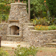 Patio by Rustic Fire Place