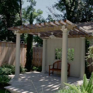 Example of a small classic backyard concrete paver patio design in Houston