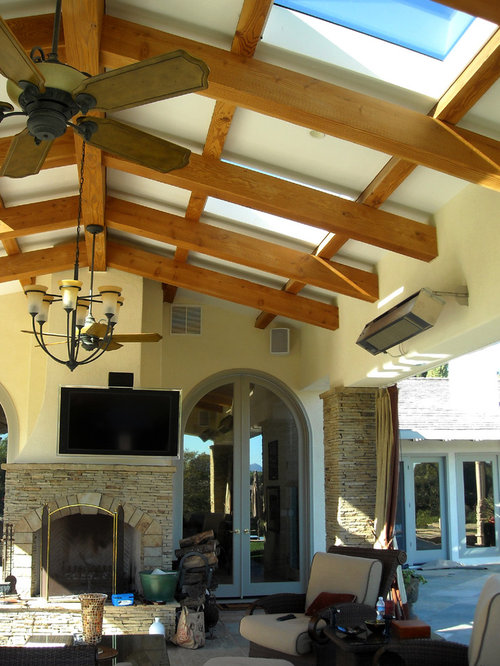 Example Of A Trendy Patio Design In San Diego With A Gazebo And A Fire Pit
