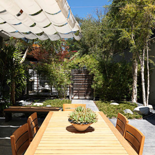 Inspiration for a world-inspired patio in Los Angeles with an awning.