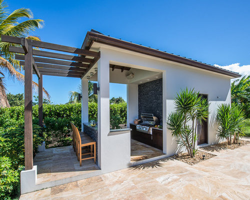 Tropical backyard landscaping ideas - Tropical Outdoor Kitchen Design Ideas Remodels Amp Photos