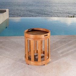 "Kafelonia Teak Side Table - Round (18"" dia) Teak Side Table with Serving Tray"