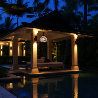 Inspiration for a huge tropical backyard tile patio kitchen remodel in Hawaii with a gazebo