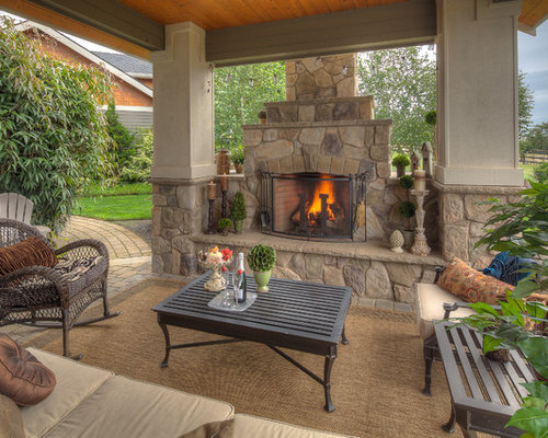 Covered patios with fireplaces houzz for Back to back indoor outdoor fireplace