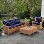 Kingsley-Bate Outdoor Patio and Garden Furniture - The Kingsley-Bate Sag Harbor collection is made from the finest all-weather wicker in varying weathered tones of gray and brown resembling antique wicker. This comfortable all-weather deep seating group includes a sofa, settee/love seat, lounge chair, ottoman, coffee table, side table and dining chairs. Each piece is hand-woven around a powder coated aluminum frame for strength and resistance to corrosion.