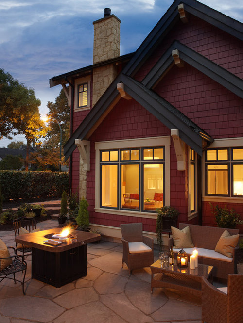 Example Of A Clic Patio Design In Vancouver With Fire Pit