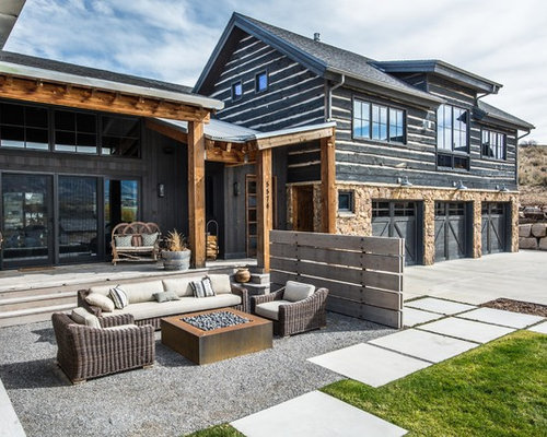 Design Ideas For A Large Rustic Front Patio In Salt Lake City With A Fire  Feature