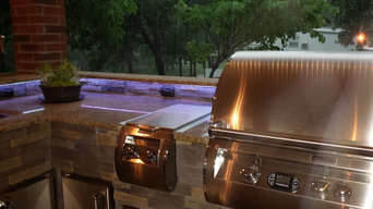 L Shaped Outdoor Kitchen With Unique Lighting