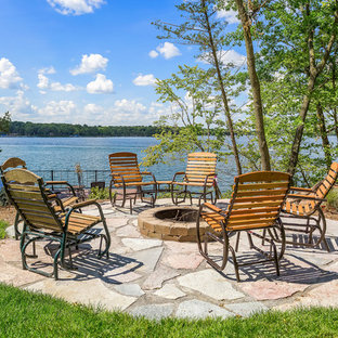 Patio - rustic patio idea in Minneapolis with a fire pit and no cover