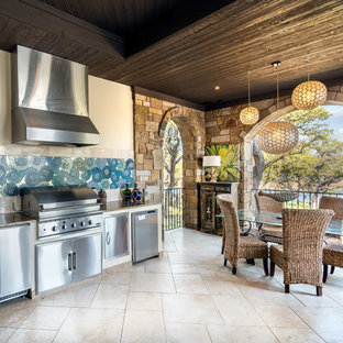 Inspiration for a large transitional backyard tile patio kitchen remodel in Austin with a roof extension
